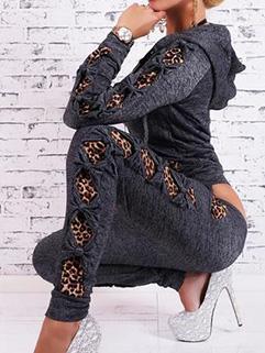 Hot Selling Casual Women Zip Leopard Print Hooded Active-wear