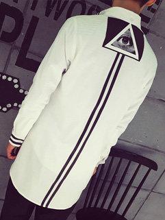 High Quality Men Striped Loose Long Sleeve Turndown Neck Punk Style Shirt