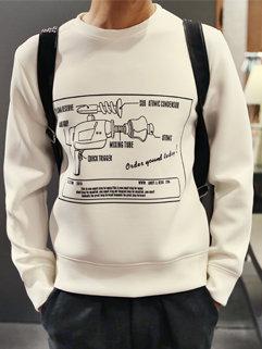 Korean Casual Men Long Sleeve Cartoon Printing Round Neck Hoodies