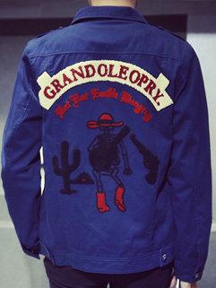 Fashion Wholesale Men Cartoon Printing Embroidery Long Sleeve Casual Jackets