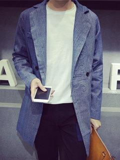 Fall Fashion Korean Men Long Sleeve Turndown Neck Printing Loose Denim Trench Coat