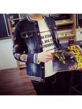 Korean Fashion Men Long Sleeve Embroidery Stand Neck Denim Jacktes