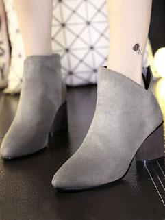 Euro American Stylish Chunky Heel Solid Zipper Women Boot