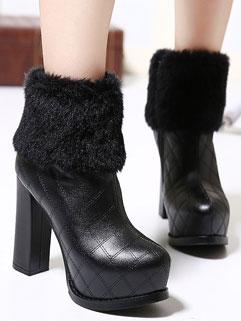 Gorgeous Style Ladylike Black Round-toe Fur Spliced Platform Boot