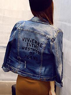High Quality Long Sleeve Fashion Solid Lapel Letter Print Denim Jacket