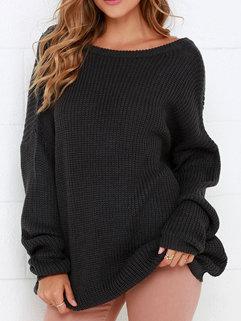 Fashion Korean Women Long Sleeve V Neck Black Casual Sweater