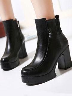 Fashion Design Solid Zipper Round-toe Platform Women Chunky Heel Boot