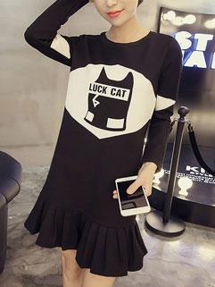 Wholesale Cheap Black Long Sleeve Slim Wear Print Flounced Cute Dress