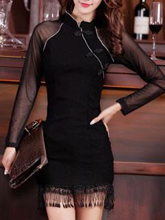 Sexy Individual Long Sleeve Gauze Spliced Stand Collar Zip Women Mini Dress