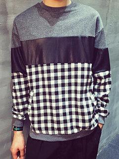 Casual Korean Long Sleeve Round Neck Pu Spliced Black Hoodies For Men