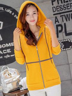 Korean Fall Long Sleeve Zipper Up Hooded Plus Size Hoodies For Women