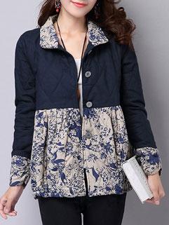 Vintage Design Long Sleeve Printing Lapel Korean Style Women Short Coat