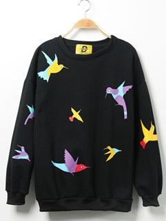 Original Brand Long Sleeve Bird Print Loose College Style Women Hoodies