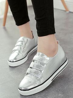 Preppy Style Solid Round-toe Flat Heel Velcro Korean Women Platform