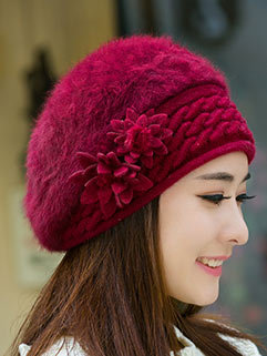 Outlet Exquisite Floral Decorated Solid Color Hat For Women