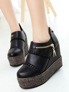 Stylish Solid Color High Quality Zipper Hidden Heel Platform
