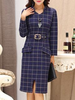 Elegant Fashion Women Long Sleeve Pockets Plaid Pattern Split Work Dresses