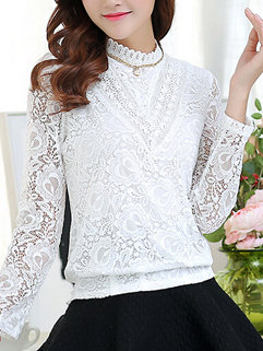 New Arrival Fashion Women Long Sleeve Stand Neck Loose Lace Blouse