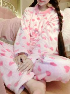 Sexy And Stylish Pink Long Sleeve Heart Print Pajama Women Suit