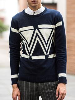 Japanese Stylish Men Long Sleeve Trendy Print Pullover Sweater