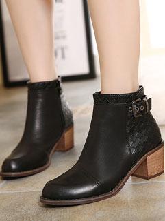 Korean Brand New Solid Zipper Pointed-toe Stylish Martin Boot