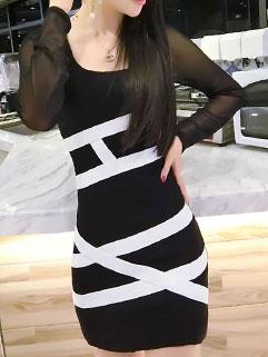 Newest Design Hit Color Long Sleeve Gauze Split Bodycon Dress