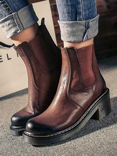 Retro Design Fashion Round-toe Chunky Heel Women Martin Boot