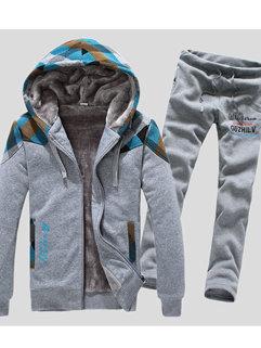 Hot Selling Korean Long Sleeve Zipper Up Hooded Neck Add Wool Winter Men Suits