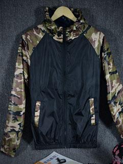 Fashion Men Plus Size Camouflage Print Long Sleeve Zip Hooded Jacket