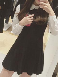 Preppy Style Black Long Sleeve Lapel Pleated Cute Women Dress