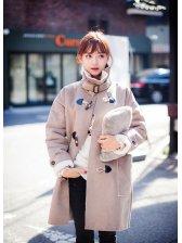 High Quality Korean Style Women Long Sleeve High Neck Long Coat