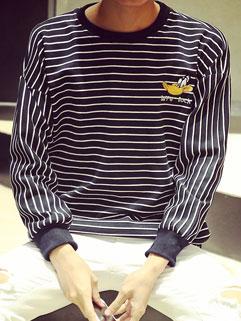 Korean Style Classic Striped Print Long Sleeve Loose Men Hoodies