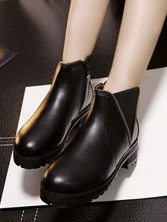 Euro American Concise Style Round-toe Zipper Women Martin Boot