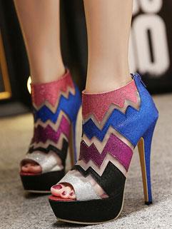 European Style Sexy Peep-toe Color Block Zipper Women Fashion Pump