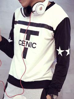 Classic Korean Men Printing Loose Long Sleeve Color Block Hoodies