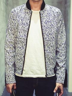 High Quality Men Slim Wear Long Sleeve Printing Zip Korean Jacket