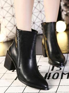 British Style Chic Black Pointed-toe Women Zipper PU Boot