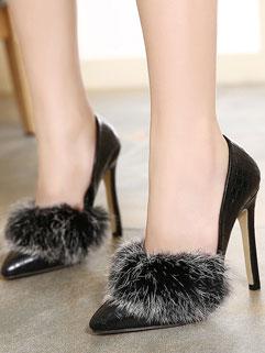 Women Catwalk Style Fur Spliced Pointed-toe Sexy Pumps