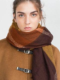 Fashion Hot Selling Plaid Design Women Warm Shawl Scarf