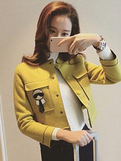 Stereo Design Long Sleeve Solid Color O Neck Elegant Women Coat