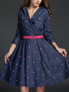 Hot Selling Korean Women Heart Printing V Neck Long Sleeve Blue Denim Dresses