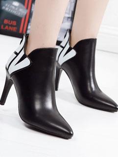 Elegant Style Black Color Block Pointed-toe Zipper Women Boot