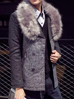 Plus Size High Fashion Lapel Fur Spliced Long Sleeve Fitted Men Coat