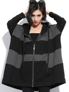 Street Wear Casual Loose Hit Color Zip Hooded Women Coat