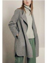 High-end Solid Color Lapel Long Sleeve Elegant Women Long Coat