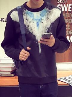Korean Latest Design Men Long Sleeve Printing Round Neck Black Hoodies