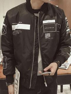 High Quality Fashion Korean Men Letter Printing Long Sleeve Black Coats