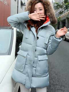 Korean Casual Winter Women Long Sleeve Fur Hooded Neck MD-Long Coats