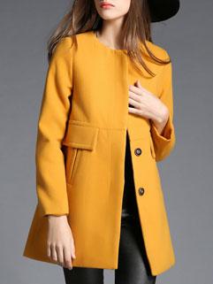 Concise Style Yellow O Neck Long Sleeve Button Pockets Korean Women Coat