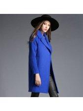 High Trendy Turn-down Collar Long Sleeve Blue OL Match Women Coat